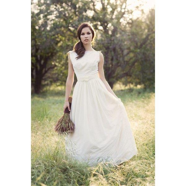Simple And Elegant Wedding Dresses Boat Neck Three Quarter: Boat Neck Strapless Full Length Wedding Dress
