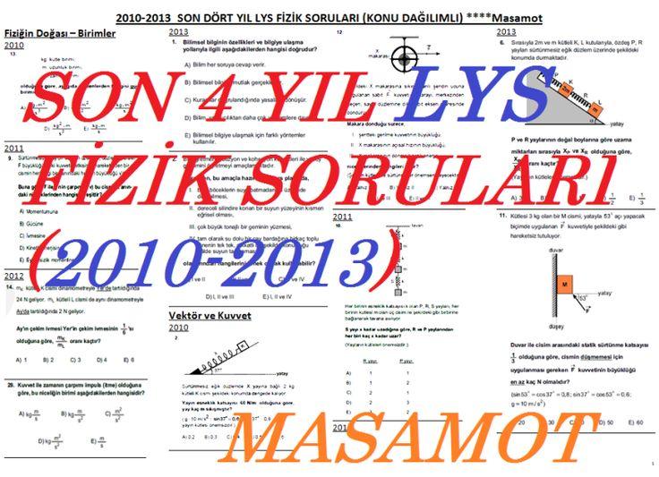 Konu Dağılımlı Son 4 Yıl LYS Fizik Soruları (2010-2013)