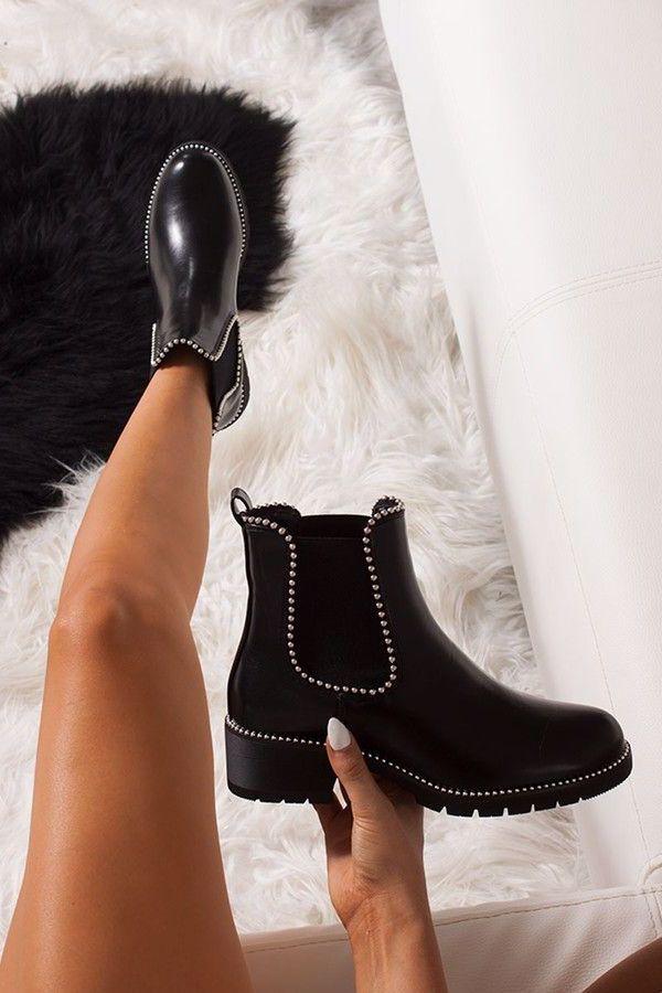 ALEX Black Stud Chelsea Boots #dress