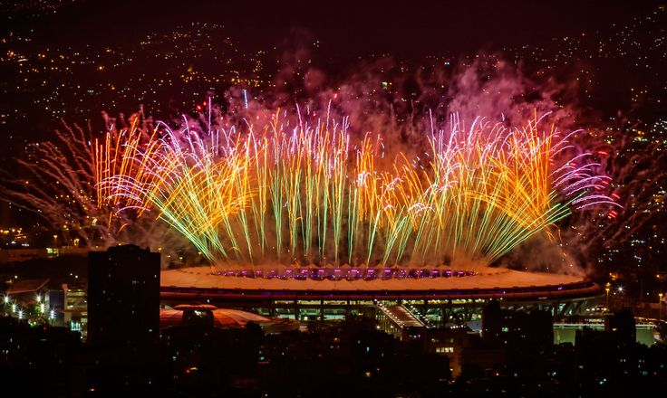 Fireworks explode over Maracana Stadium during the opening ceremonies for the Rio 2016 Summer Olympic Games in Rio de Janeiro, Brazil, on Aug. 5, 2016.