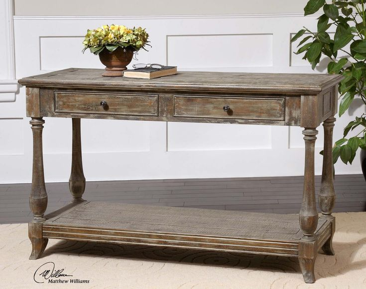 Foyer Table Distressed : Mardonio distressed console table hallway entryway