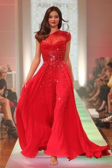 miranda kerr t stage celebrity dress sequin red chiffon one shoulder prom gown