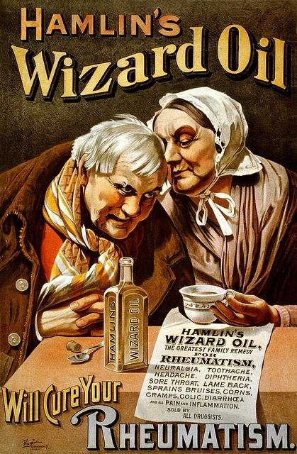 Hamlin's Wizard oil will cure your rheumatism, advertising poster, ca. 1890