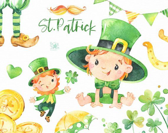 St Patrick Watercolor Patrick S Day Clipart Clover Etsy Cute Illustration Clip Art Irish Hat