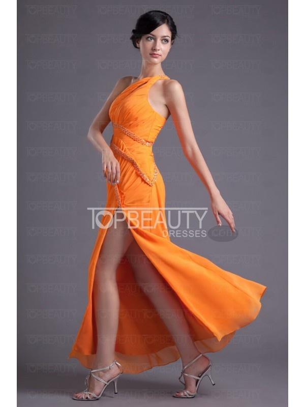 Orange Prom Dress #Orange #chiffon #prom