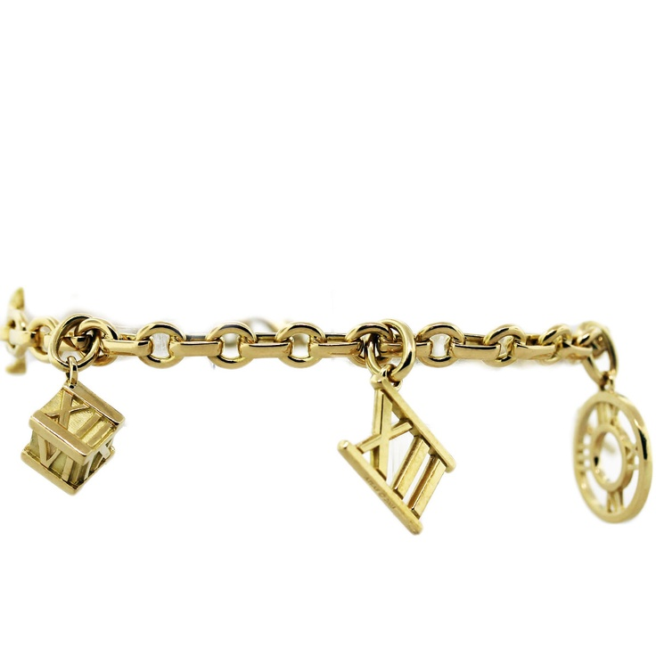 Tiffany and Co 18K Yellow Gold Atlas Charm Bracelet