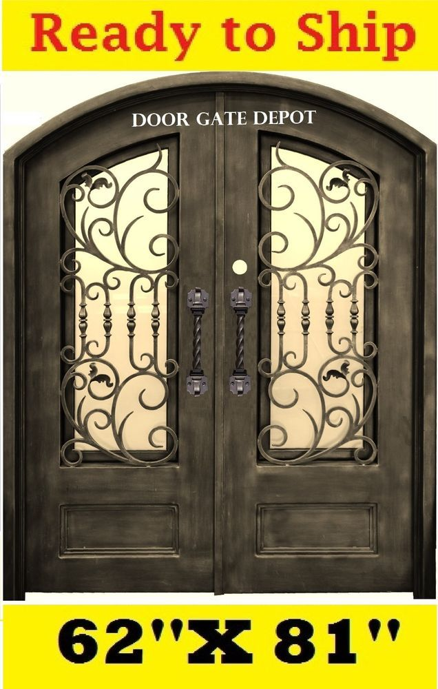 WROUGHT IRON FRONT ENTRY DOORS WITH TEMPERED GLASS 62''X81'' DGD1026ABP  | eBay