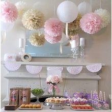 15 stks gemengde grootte (15 cm, 20 cm, 25 cm) tissuepapier pom poms ballen bruiloft decoratie festival baby shower partij decoratie leverancier(China (Mainland))