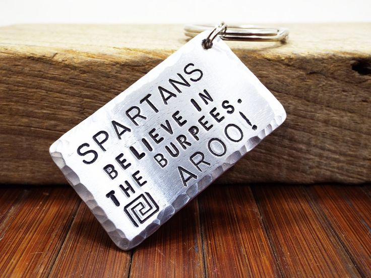 Spartans Believe In The Burpees Aluminum Keychain - Work Of The Day Excercise - Personalized Gift for the participants of the Spartan Race by Aluminiopassions on Etsy
