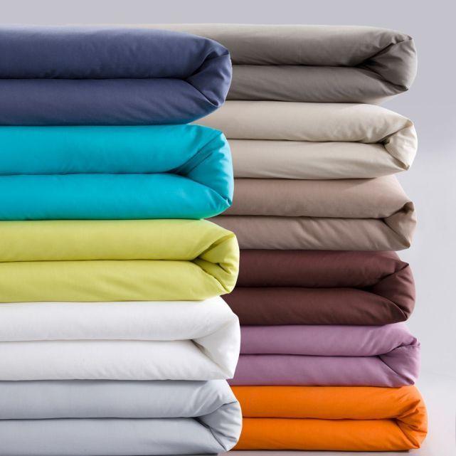 Housse de couette unie coton/polyester Marron et orange ?