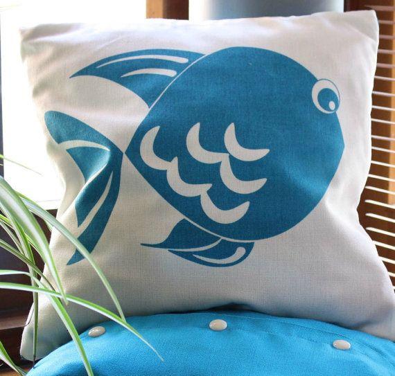 Natural and Blue CUSHION cover handmade pillow blue by Netamente, $30.00