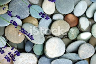 Lavender & River Pebble Background Royalty Free Stock Photo