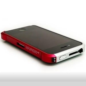 Бампер Vapor 4 Серебро с красным Silver&Red для Iphone 4&4s