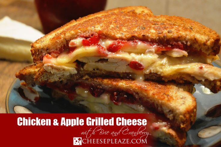 Recipe for Chicken, Brie & Apple Grilled Cheese with cranberry.