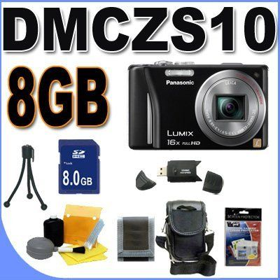 Panasonic Lumix DMC-ZS10 14.1 MP Digital Camera with 16x Wide Angle Optical Image Stabilized Zoom and Built-In GPS Function (Black) Accessory Saver 8GB Bundle by Panasonic. Save 33 Off!. $303.29. This Kit Includes: 1- Panasonic Lumix DMC-ZS10 14.1 MP Digital Camera (Black) Brand New w/Supplied Manufacturer Accessories 1- 8GB SDHC Secure Digital Memory Card (Dont Miss a Memory!) 1- USB SD Memory Card Reader (Download Images Quicker!) 1- Padded Carrying Case w/Strap (Protect Your In...