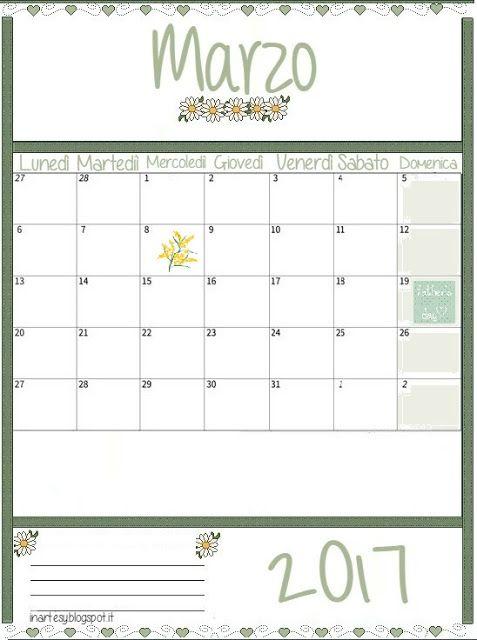 inartesy: Calendario stampabile Marzo 2017