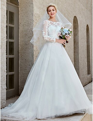 088dc156cc8 Ball Gown Bateau Neck Chapel Train Lace   Tulle Made-To-Measure Wedding  Dresses with Appliques   Crystal Brooch   Button by LAN TING BRIDE®    Illusion ...