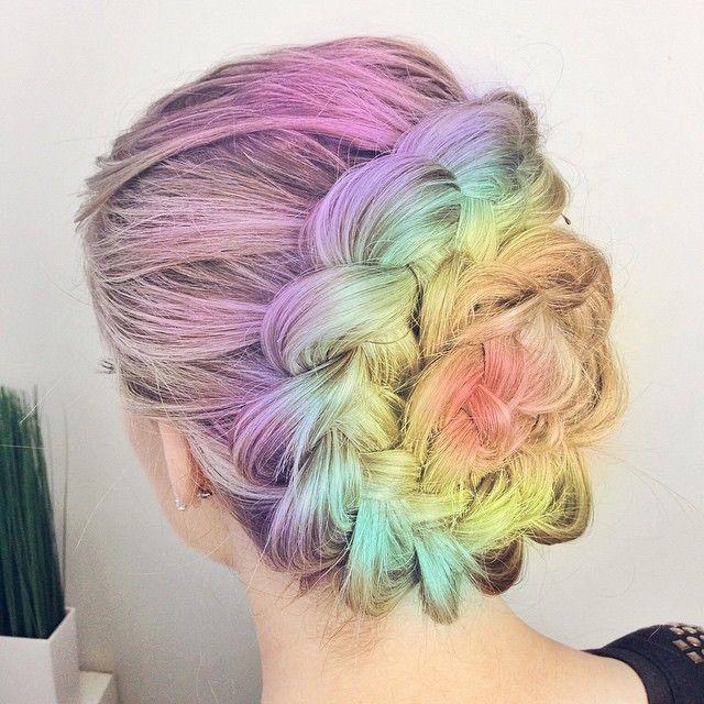 Purple yellow rainbow braided bun dyed hair color