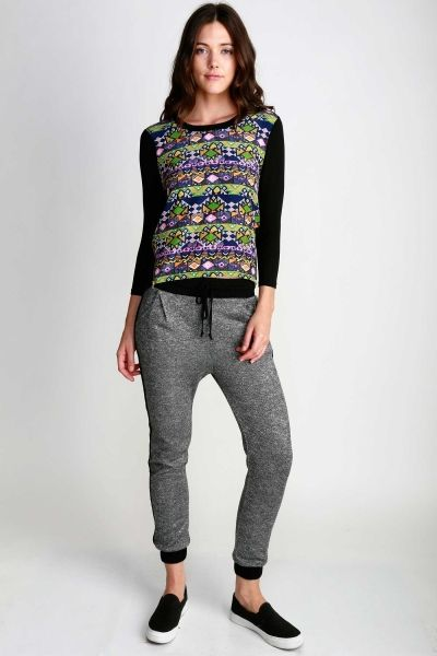 MARLED DRAWSTRING KNIT JOGGERS WITH ELASTIC WAIST BAND AND POCKETS