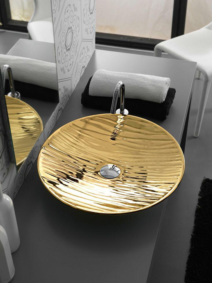 Lavabo appoggio decorato oro