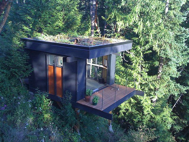 a cube with a view . office / guest room . Chuckanut Bay, Bellingham WA #Architecture