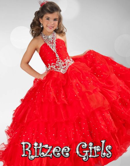 Halter Pageant Dresses For Girls Glitz Red Puffy Organza Crystal Beading Floor Length Little Girls Ball Gown Kids Evening Dress