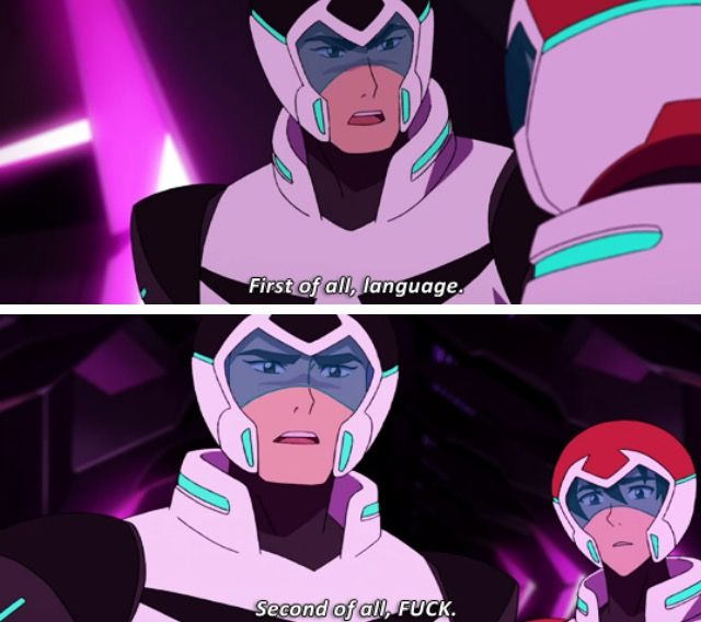 """Can Shiro say this in season 3? Please? Like Pidge gets into the habit of saying """"quiznak"""" like  A LOT and obviously it's not obscene to the Paladins (and Allura's a trashmouth if there ever was one - """"quiznakking Galra"""" anyone?) but it's still swearing"""