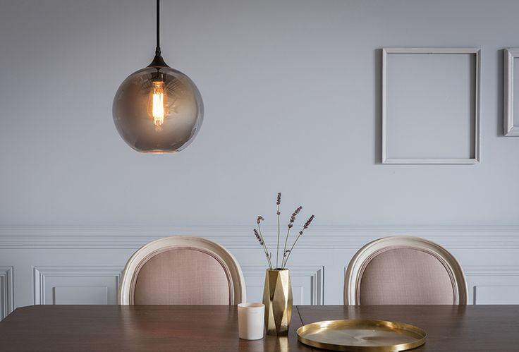 Coltrane Pendant Light with Ethel Dining Chairs in Grey