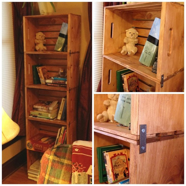 DIY Wooden Crate Bookshelves made with the