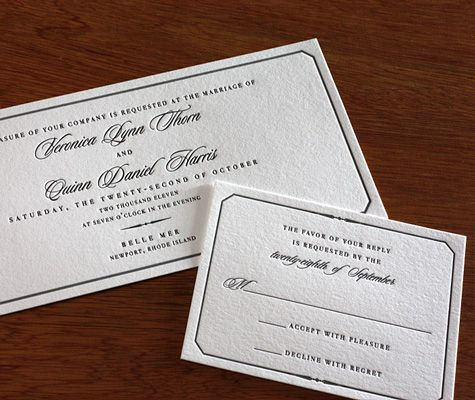 Belle Mer's regal border adds classic luxury to this traditional #letterpress wedding invitation design.
