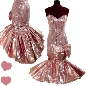 PinupDresses.com Vintage 80s PINK Strapless SEQUIN PROM Party Dress S M #Vintage