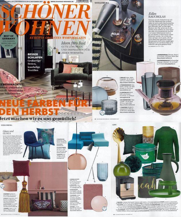 Various collection of AYTM featured in Schöner Wohnen! November 2017 edition.