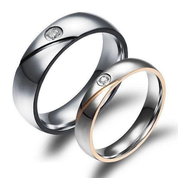 USA 2 PCS Simulated Diamond Couple Ring Promise Engagement Wedding Rings