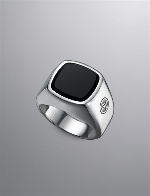 The David Yurman Men's Signet Ring in Sterling with Onyx inlay.