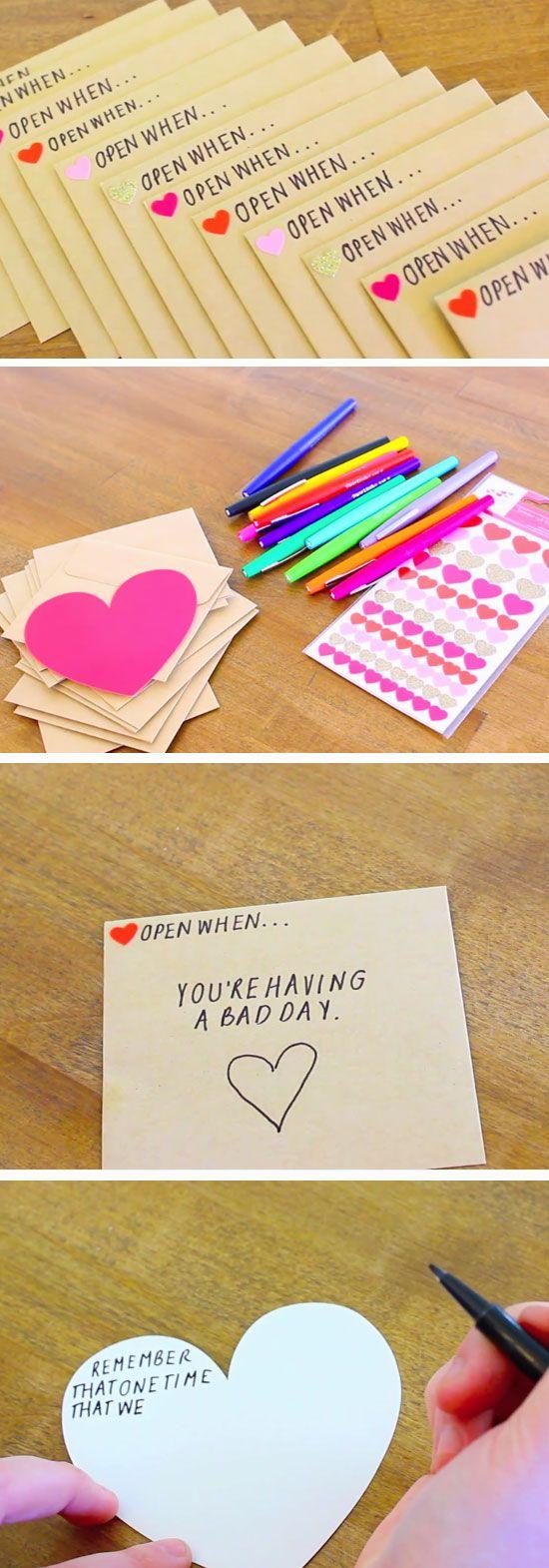 Open When Envelopes | 23 DIY Valentines Crafts for Boyfriend | DIY Birthday Gifts for Him