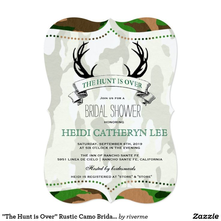 """""""The Hunt Is Over"""" Rustic Camo Bridal Shower Invitation"""