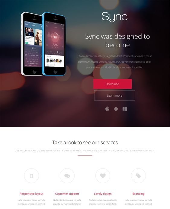This WordPress theme for promoting apps features a responsive layout, a Bootstrap framework, 7 preset color schemes, over 400 Font Awesome icons, shortcodes, a MailChimp subscription form, cross-browser compatibility, and more.