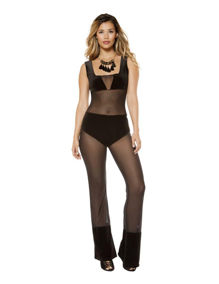 Velvet and Sheer Mesh Jumpsuit-Black