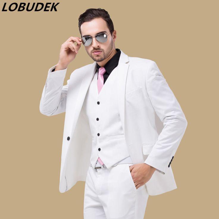 man suit jacket commercial loading vest pants set slim clothes married groom wear male set formal party fashion men white color  #Affiliate