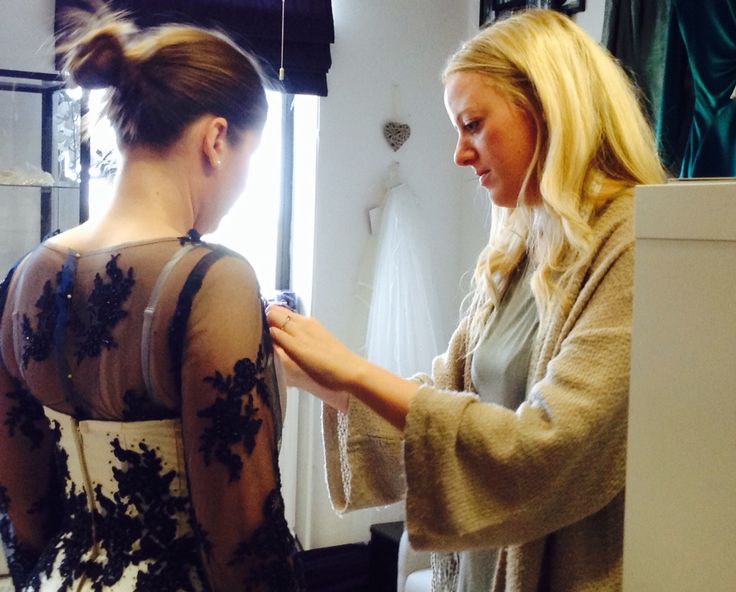 Gemma Sargent: Fashion Designer & Couturier - 1st fitting of Gemma Sargent bespoke beaded navy lace bolero.  Part of the customisations for Megan's wedding dress which she would like to wear again for formal events now that she is married.