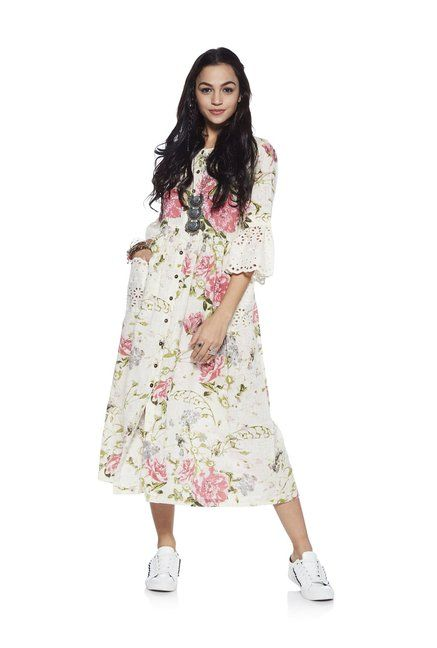 43215484727 Bombay Paisley by Westside Off White Floral Dress - | 1699.00 ...