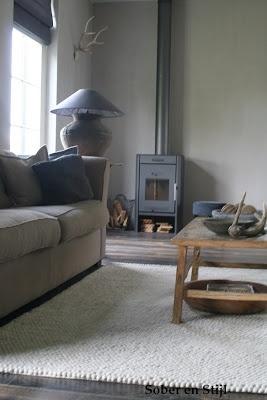 Mooie houtkachel voor in onze woonkamer