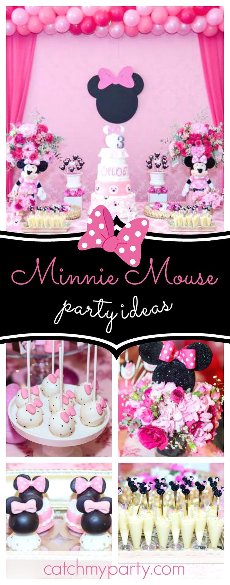 Take a look at this gorgeous Minnie Mouse birthday party! The pink dessert table is stunning!! See more party ideas and share yours at CatchMyParty.com  #partyideas #minnie #minniemouse #girlbirthday