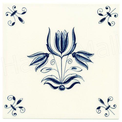 Tulip Flower, Dutch Delft Tile 6