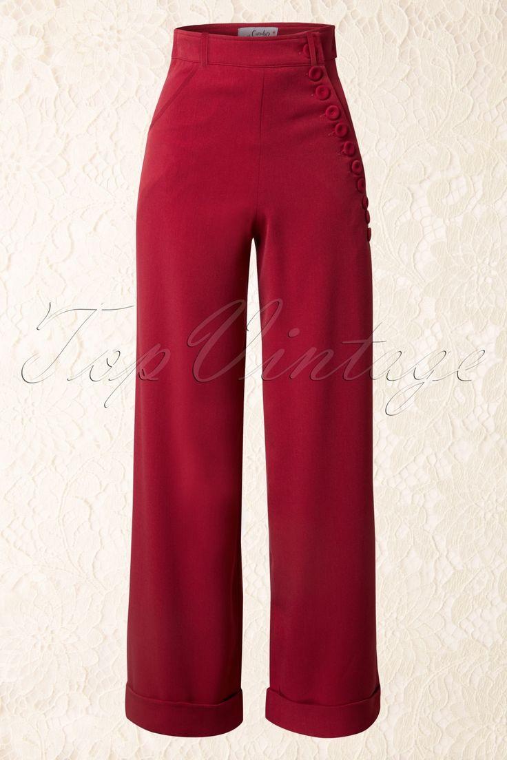 De40s Nicolette High Waisted Swing Trousers Redvan Miss Candyfloss is een elegante broek in vintage jaren 40 - 50 stijl met een geweldige pasvorm.De vrouwelijke hoge taille vormt een mooi contrast met de wijde pijp en heeft een super afkledend effect, vooral als je een vollere heup / flinkere billen hebt.De speelse knoopsluiting zorgt ervoor dat je rondingen prachtig uitkomen, vavavoom! Afgewerkt met een zijwaarts steekzakje, 2 flatterende klepzakken met knoopsluiting op de...