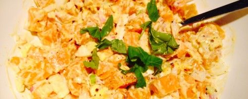 Zoete aardappel salade met Kerst! -