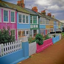 Colorful sea side cottages - Whitstable, Kent, England.