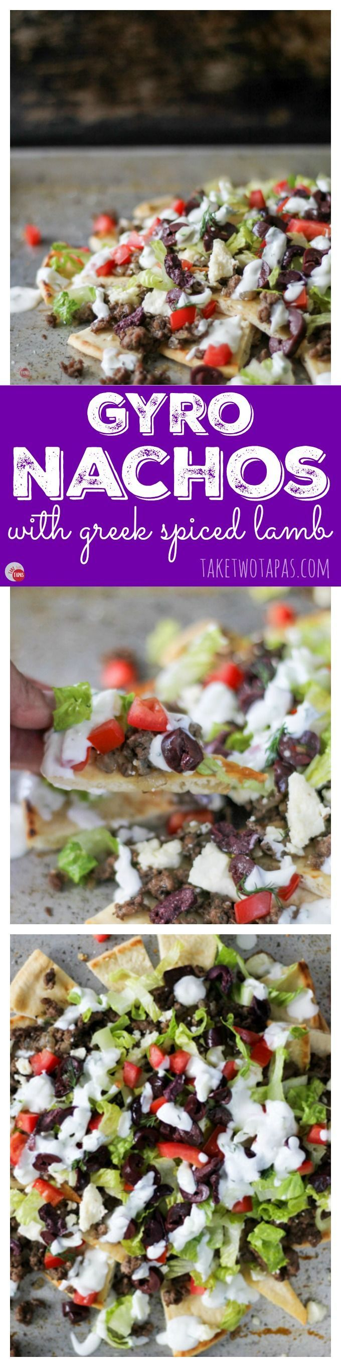 Love to grab a Gyro sandwich on the run? All the flavors of a Gyro but in the form of Nachos. Greek flavors like cucumber, dill, lamb, and Kalamata olives. Gyro Nachos Recipe | Take Two Tapas