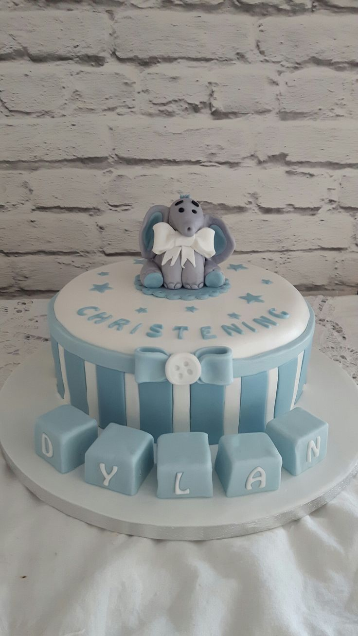 Stripy elephant christening cake