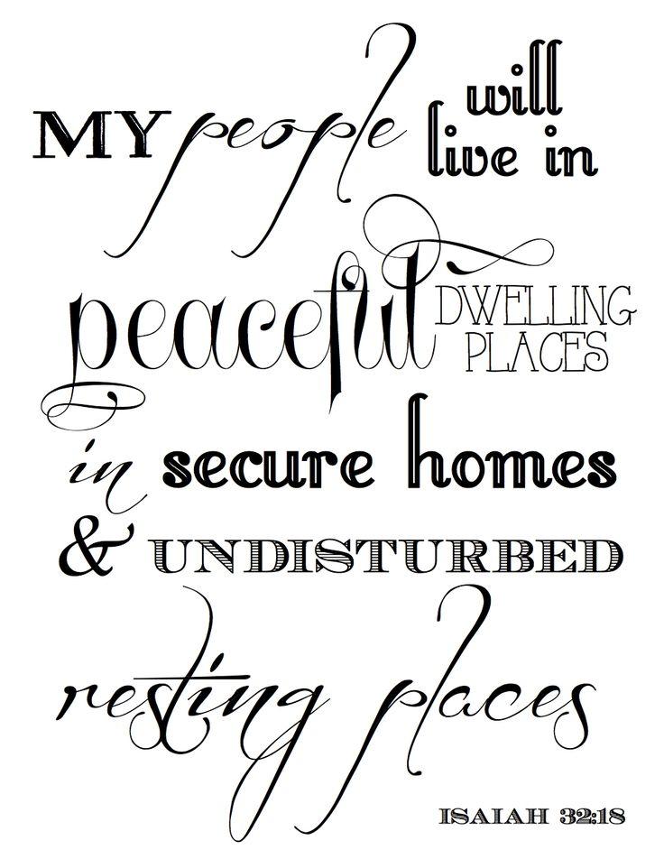 Free Bible verse printable - Isaiah 32:18 (Peaceful dwelling places)